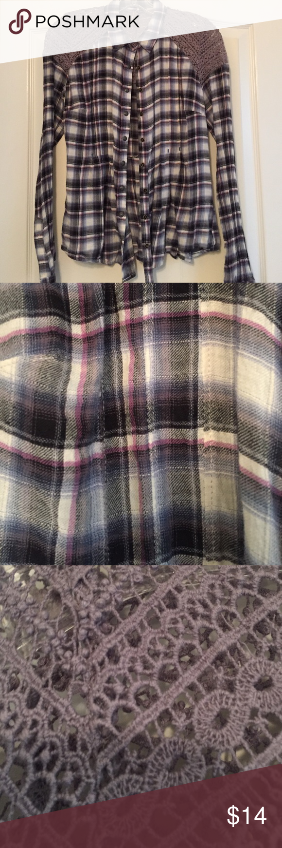 Free people plaid button up Used great condition Free People Tops Button Down Shirts