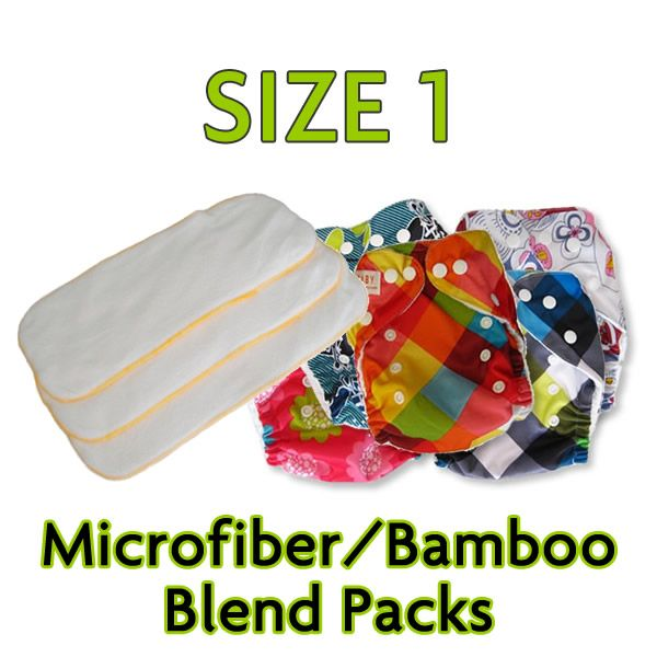 6 Diapers With 6 Blended Inserts (Size 1)