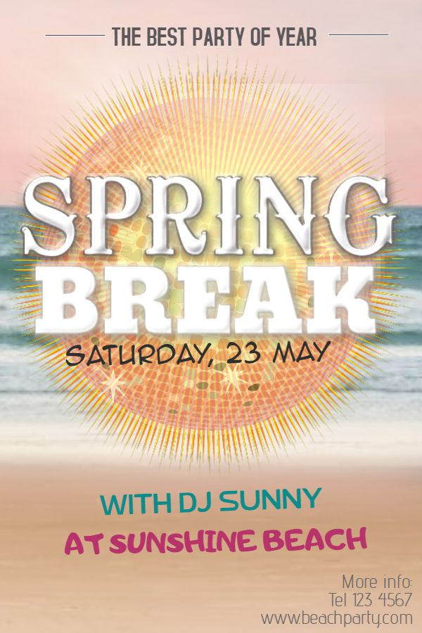 Spring Break Party Flyer Design Click To Customize  Spring