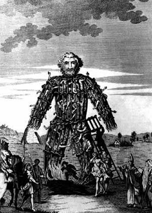 Wicker Man  burned at Beltane May Day ceremony, pagan celebration, human sacrifice, May 1st, symbolism He is running through the fire!