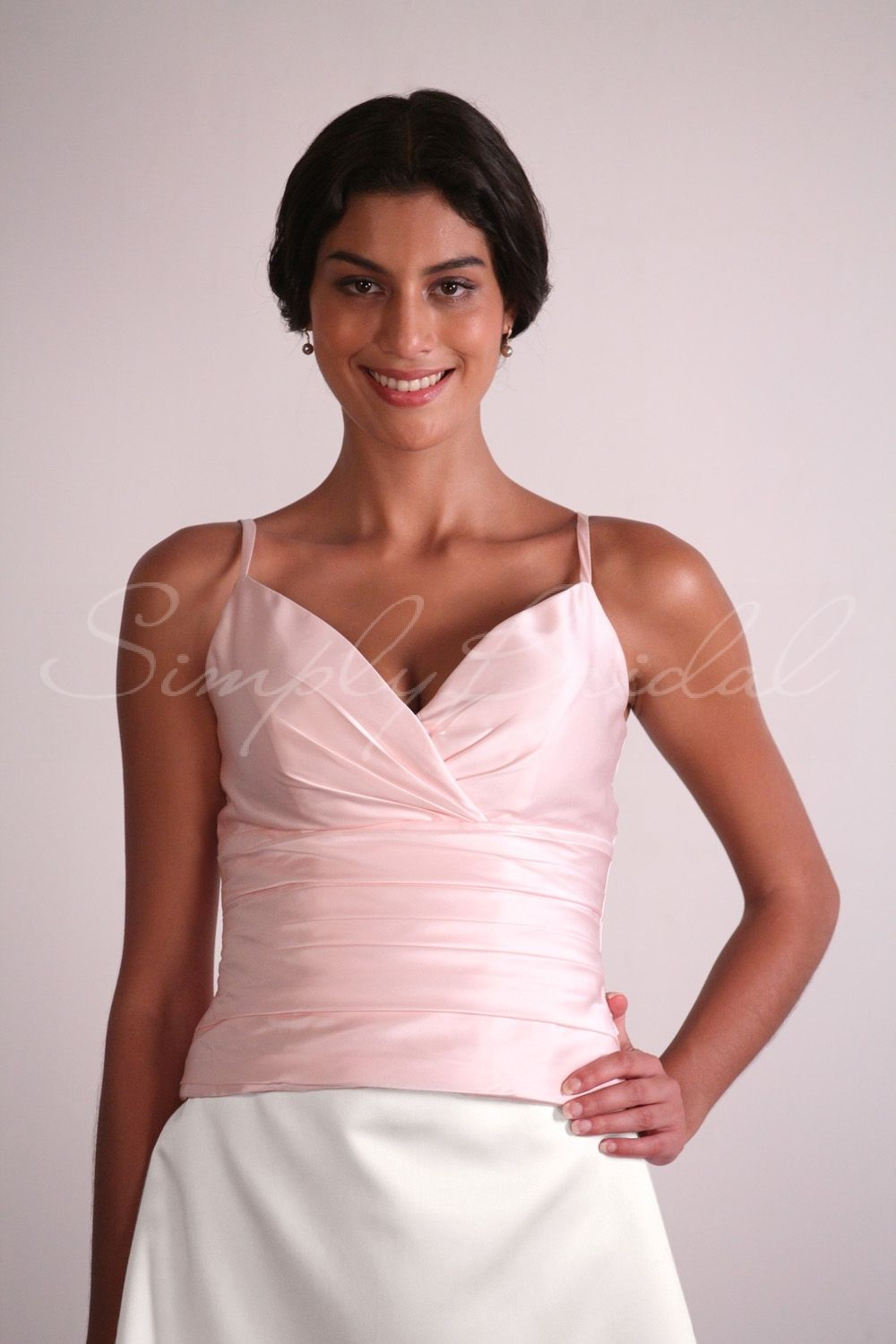 #84010 - V-Neck Satin Top With Pleating - Separates - Simply Bridal