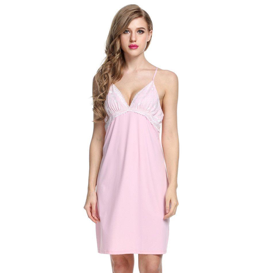 Ekouaer Hot Sales Night Gown Women Sexy Sleep dress Sleeveless Home ...
