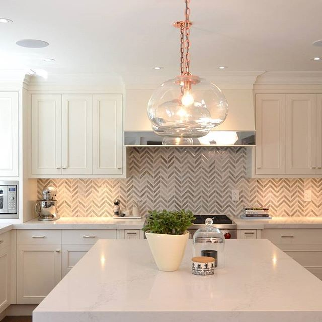 Best Herringbone Backsplash Rose Gold Accents And A Frosty 400 x 300