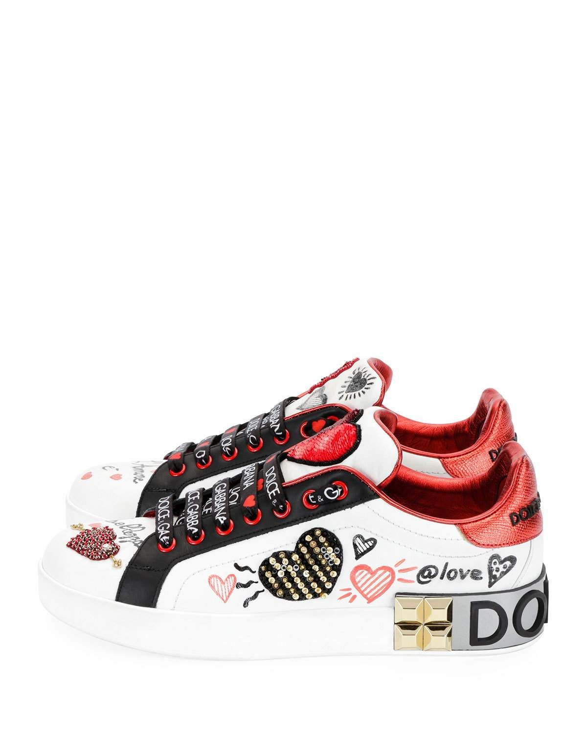 674be075 Dolce & Gabbana Leather Low-Top Sneakers with Graffiti Hearts ...