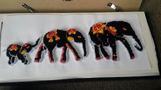 Sucee's quilling:  QUILLED ELEPHANT FAMILY FRAME WORK  Finished Elep...