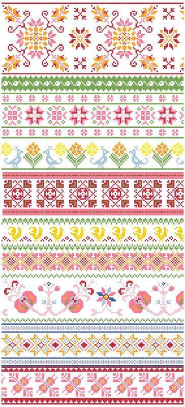 Baltic Folk Borders Cross Stitch Pattern PDF | Pinterest | Borte ...