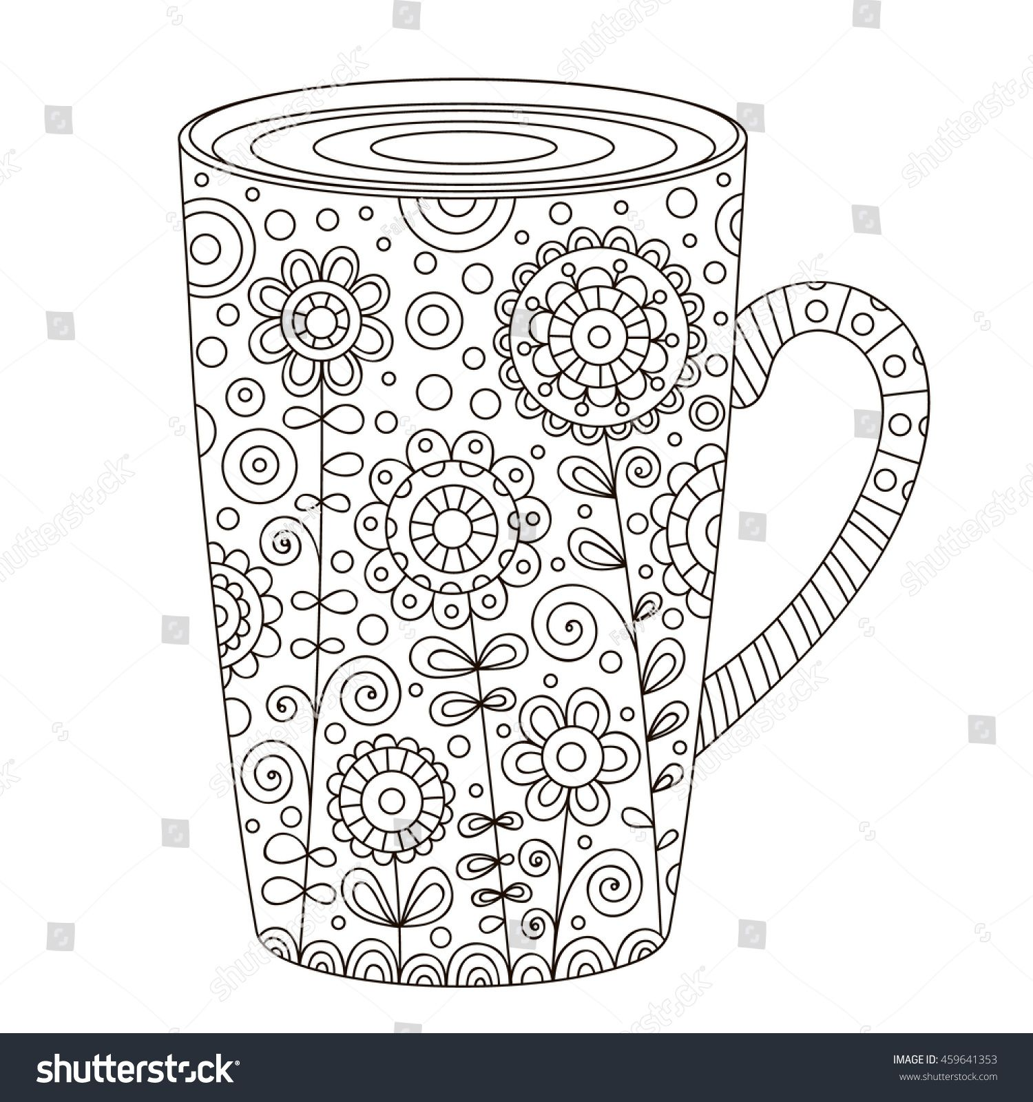 Coffee Cup Coloring Page Coffee Vector Coffee Art Printable