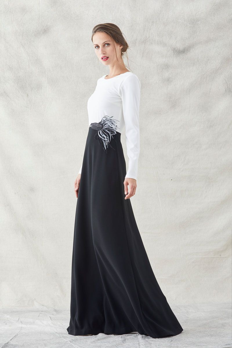 Vestido Largo Blanco Y Negro Bordado Kim