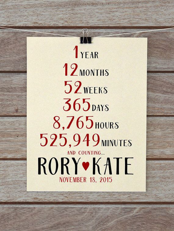 1 Year Anniversary Present First Paper Wedding Gift Husband Wife Beige Red Neutral Fall Countdown
