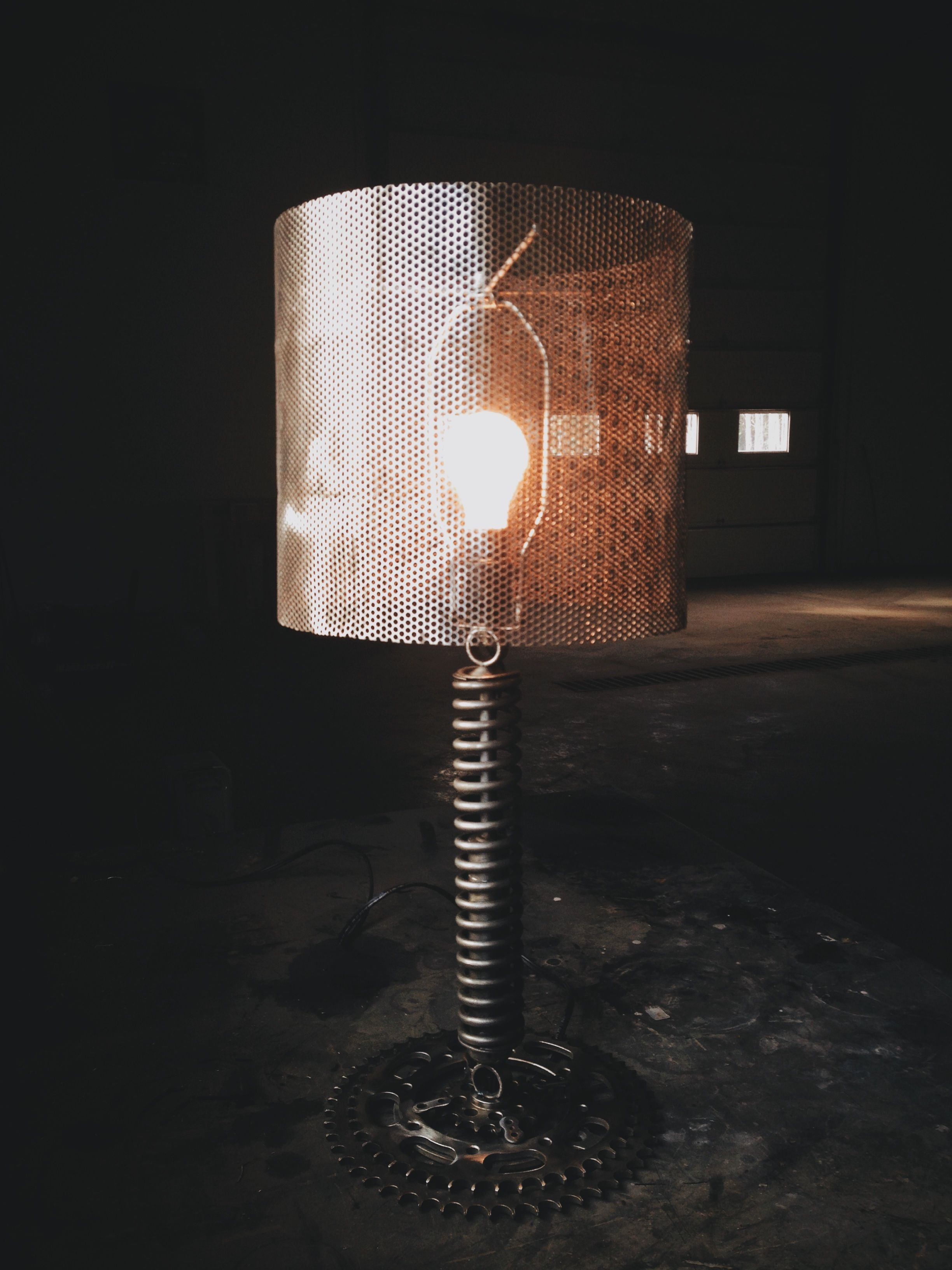 Table Lamp Made From Salved Motorcycle And Automotive Parts.