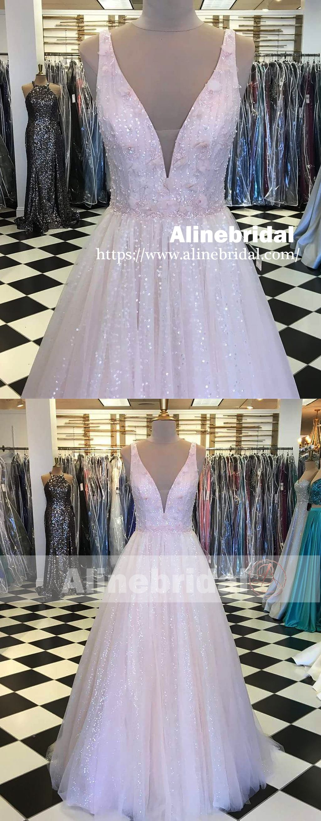 Light pink stunning sequin beading for teens prom dresses pd