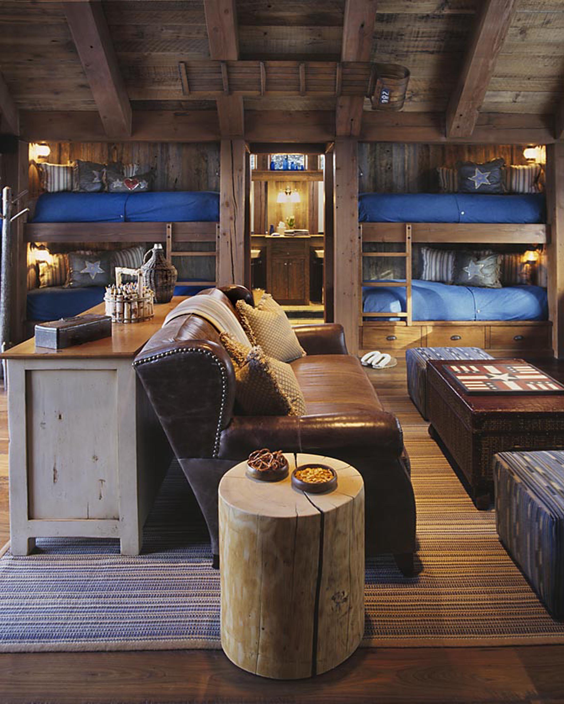 Log Cabin Bedroom Decor Rustic Country Bunk Room Features Built In Barnwood Bunk Beds