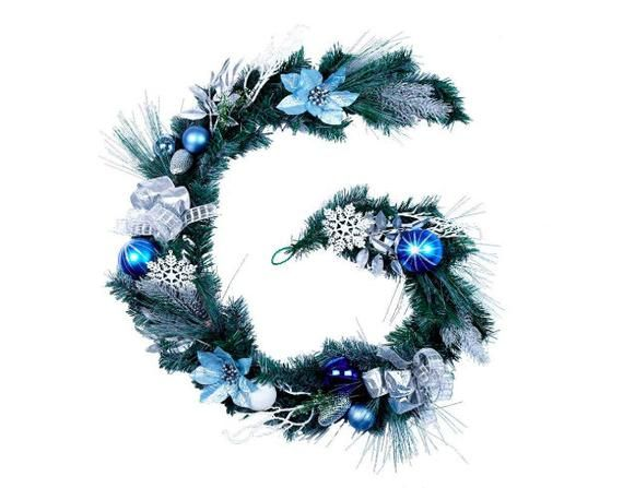 Christmas Garland Lights Silver And Blue Christmas Garland Ornaments