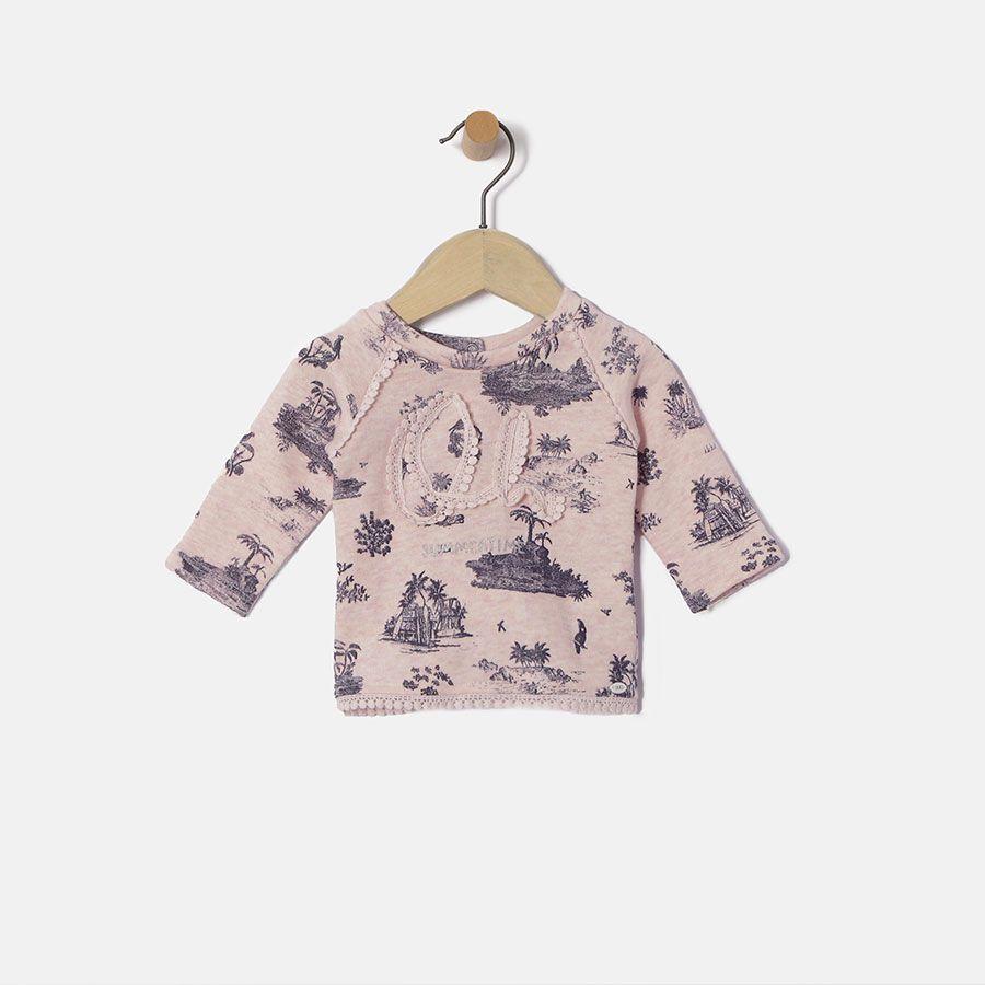Sweat rose imprimé bébé fille IKKS | Mode Bebe Fille Eté 16 (XH15010)