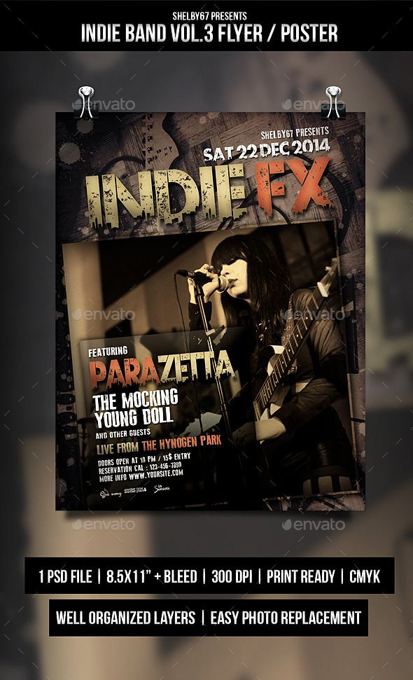 Indie Band Flyer \/ Poster Vol3 Indie, Flyer template and - band flyer template