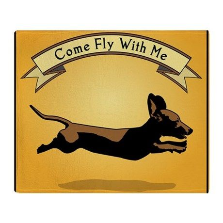 f6cfcf593da5 8x9_trvlbnd_flying_dog Throw Blanket on CafePress.com Flying Dog, Dog  Poster, Dachshund Art,