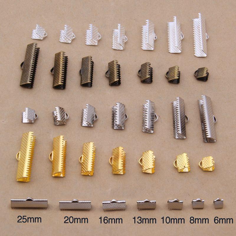 (최소 주문 $5) 금속 DIY 6 미리메터-25 미리메터 보석 결과 빈티지 실버 질감 엔드 캡 크림프 비즈 맞춤 보석 만들기