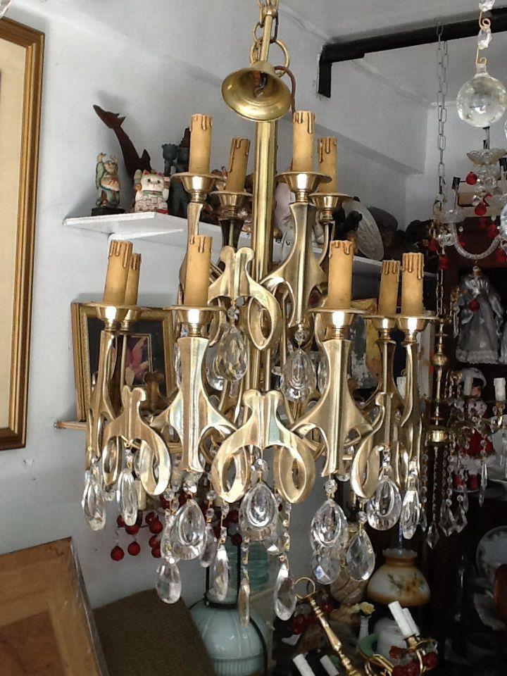 Mid century brass chandelier