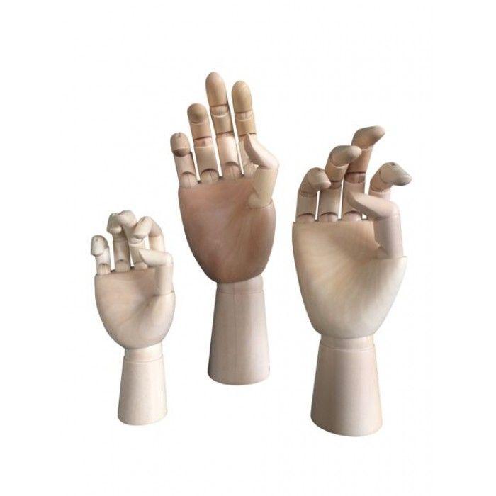 Houten handen in 3 verschillende maten