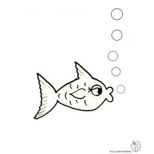 Disegno di pesce e bollicine da colorare disegni di for Disegni di pesci da stampare
