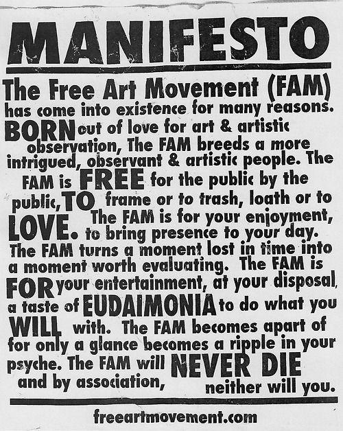 The Free Art Movement's Manifesto