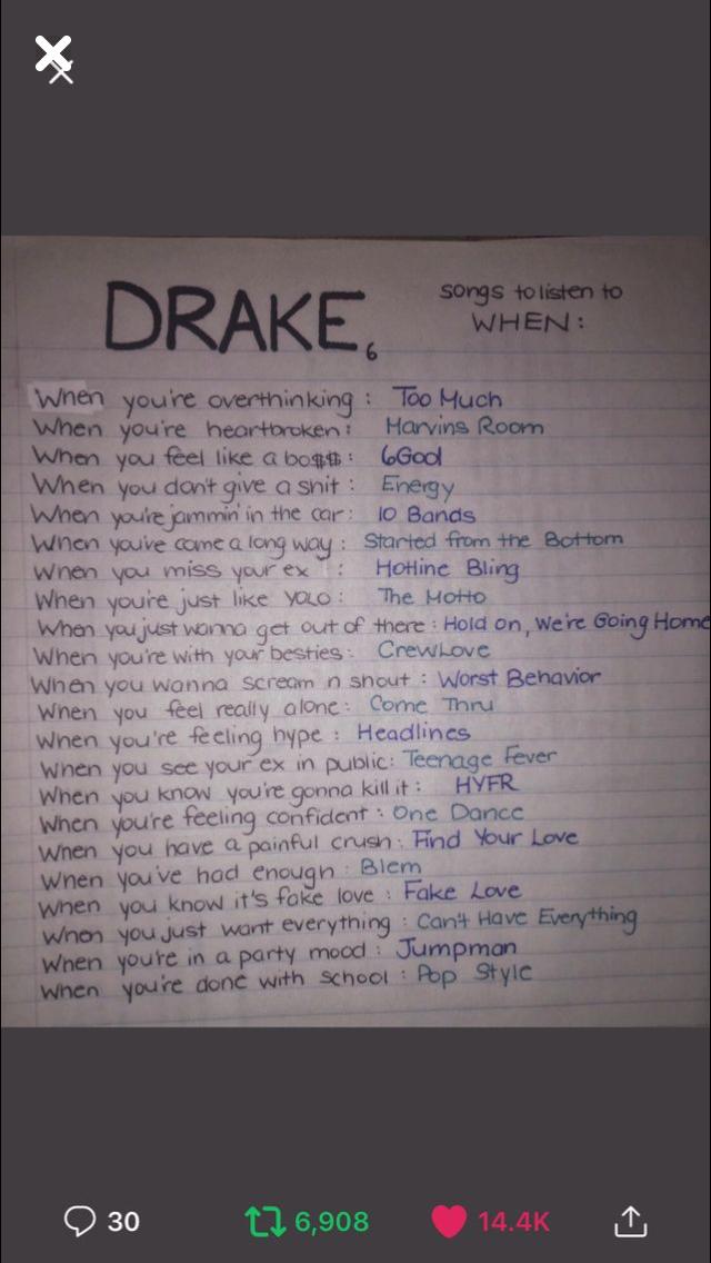 Pin by Karla Penaranda on Mood songs in 2019 | Songs, Drakes