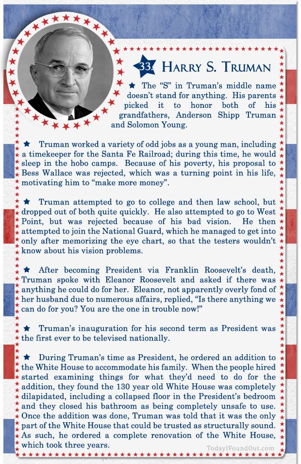 100 facts about us presidents 33 harry s truman for American history trivia facts