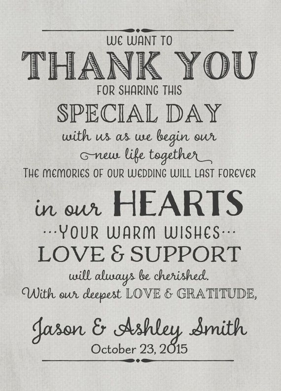 Wedding Thank You Card With Pre Printed Message On Back