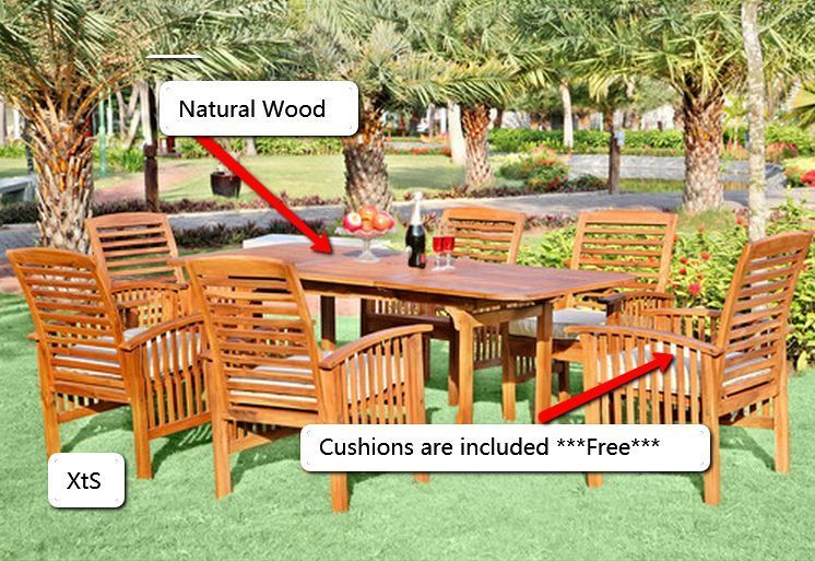 wood patio furniture outdoor 7pc dining set table chairs cushions