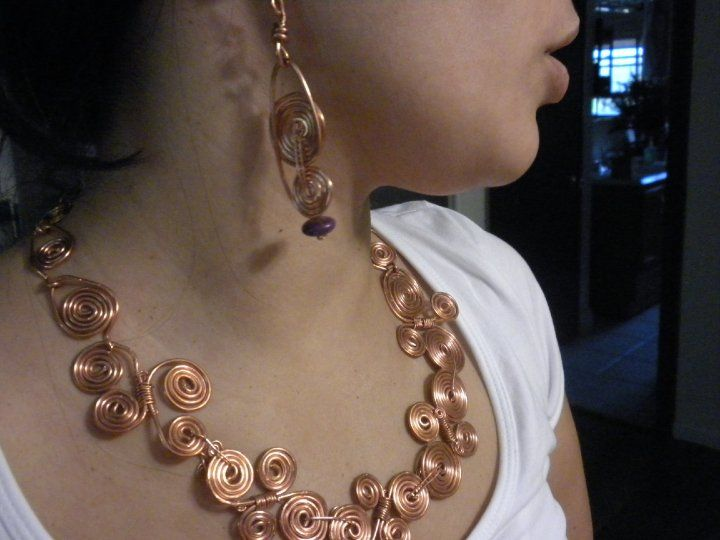 amazing handmade copper jewelry / copper wire wrapped necklace.