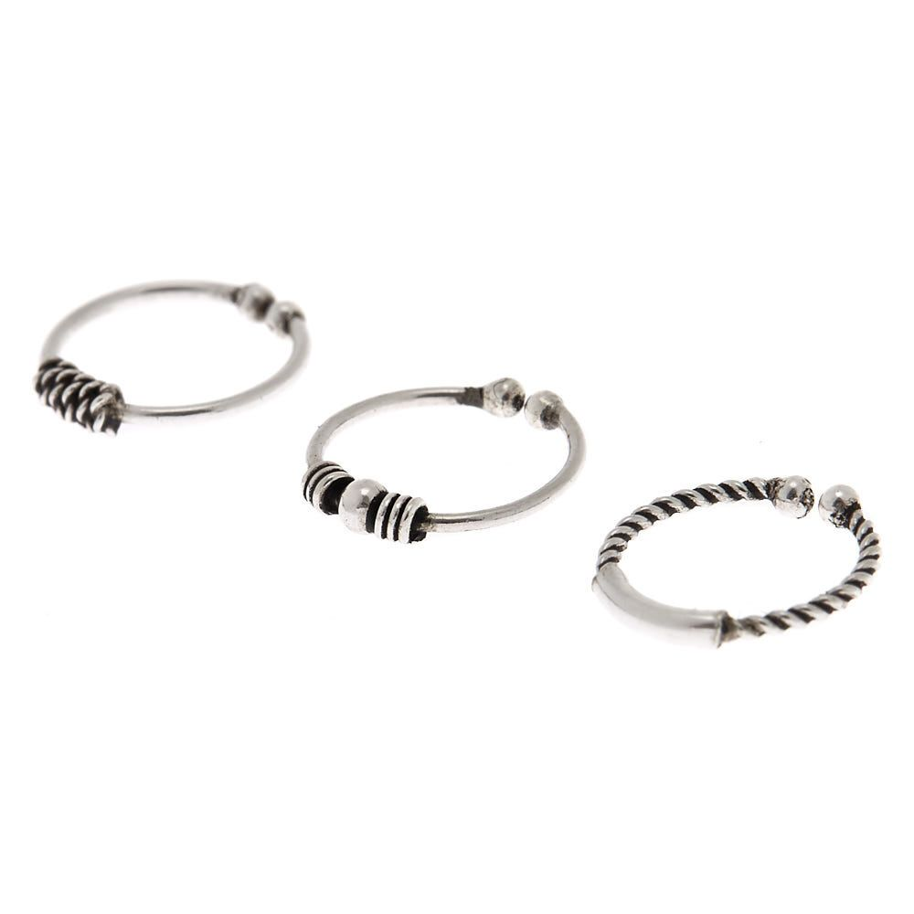 1f189b7144eba Claire's Sterling Silver Bead Faux Nose Ring - 3 Pack in 2019 ...