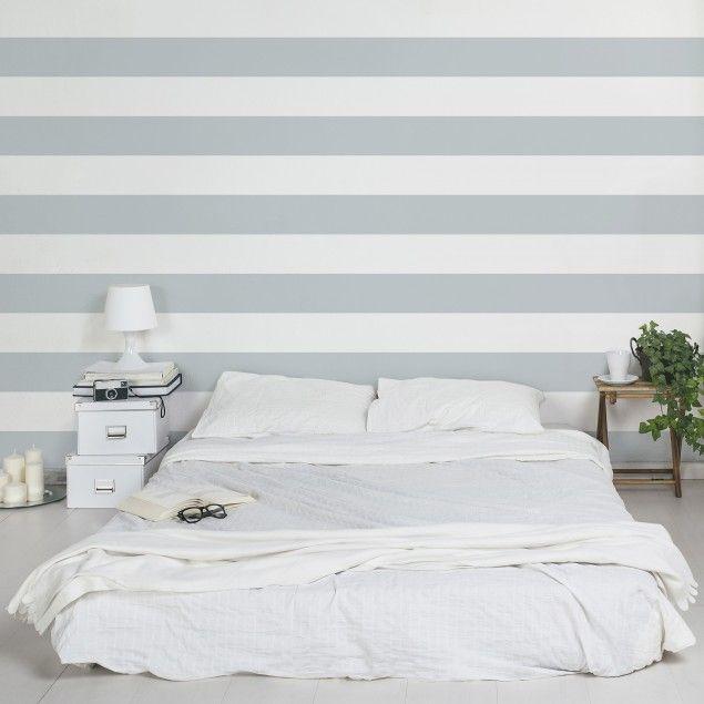 Kinderzimmer Tapeten   Vliestapeten Premium   No.YK53 Querstreifen Grau Weiß  Streifentapete   Fototapete Breit