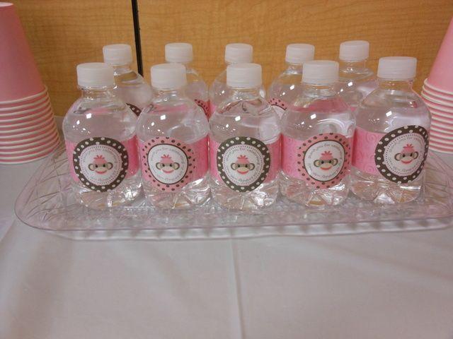Water Bottles at a Pink Sock Monkey Party #pinksockmonkey #drinks