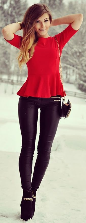 Red Peplum Top