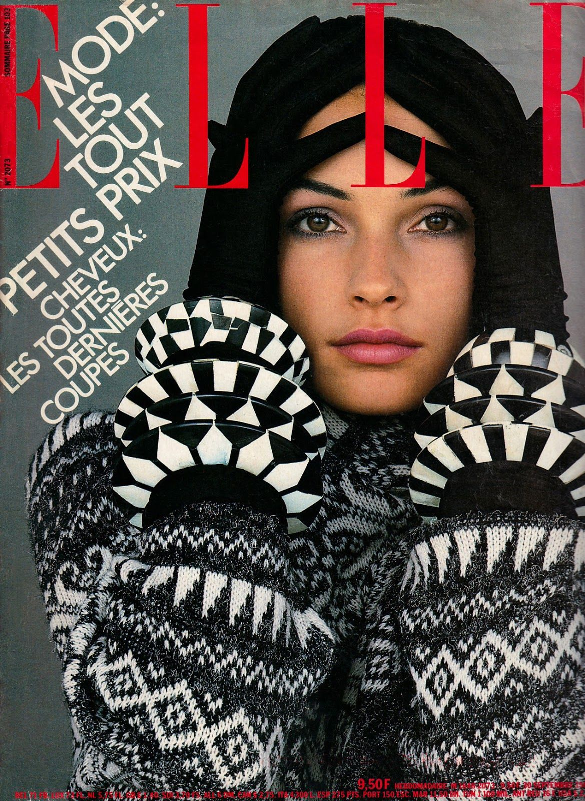 Famke Janssen photographed by Francis Giacobetti for the cover of Elle, September 1985