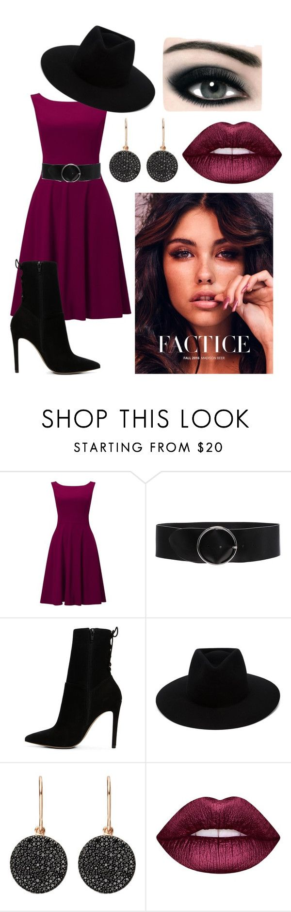 """Two Shades Dress"" by claire1sage ❤ liked on Polyvore featuring Phase Eight, IRO, ALDO, rag & bone, Astley Clarke, Max Factor and Lime Crime"
