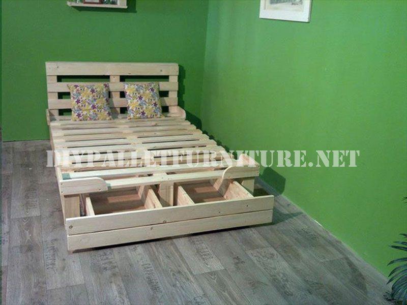 bettrahmen mit schubladen von paletten gemacht shabby chic pinterest bett palletten bett. Black Bedroom Furniture Sets. Home Design Ideas