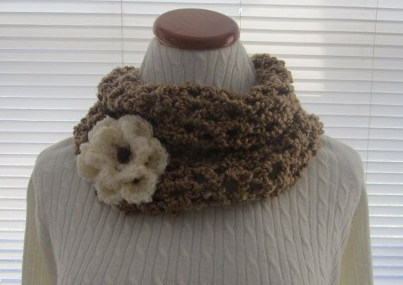 Brown Neck Cozy With Flower Neck Ware Brown by CoralsChicBoutique