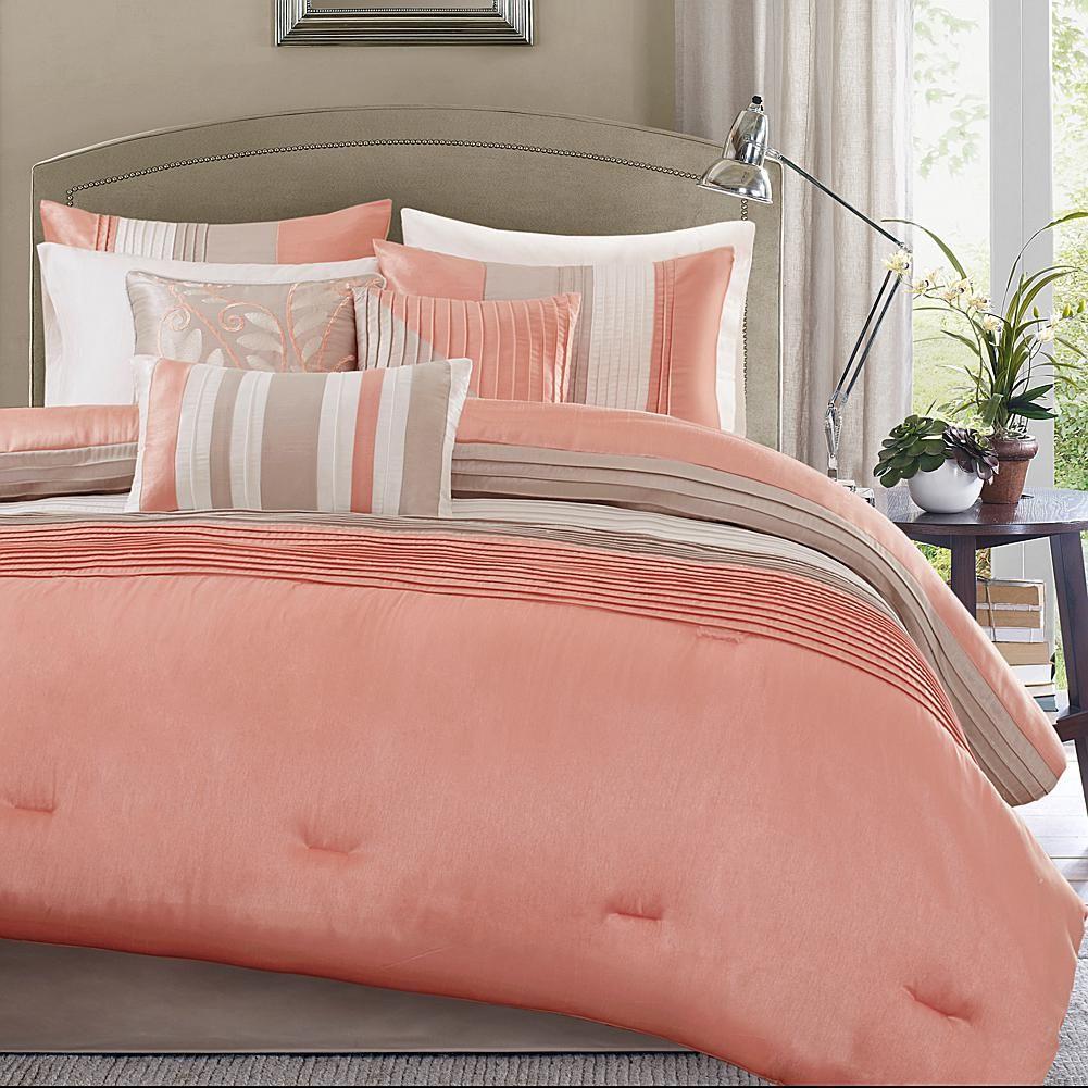 Madison Park Amherst 7 Piece Coral Comforter Set California King 8177392 Hsn Coral Comforter Set Comforter Sets Coral Bedding Sets