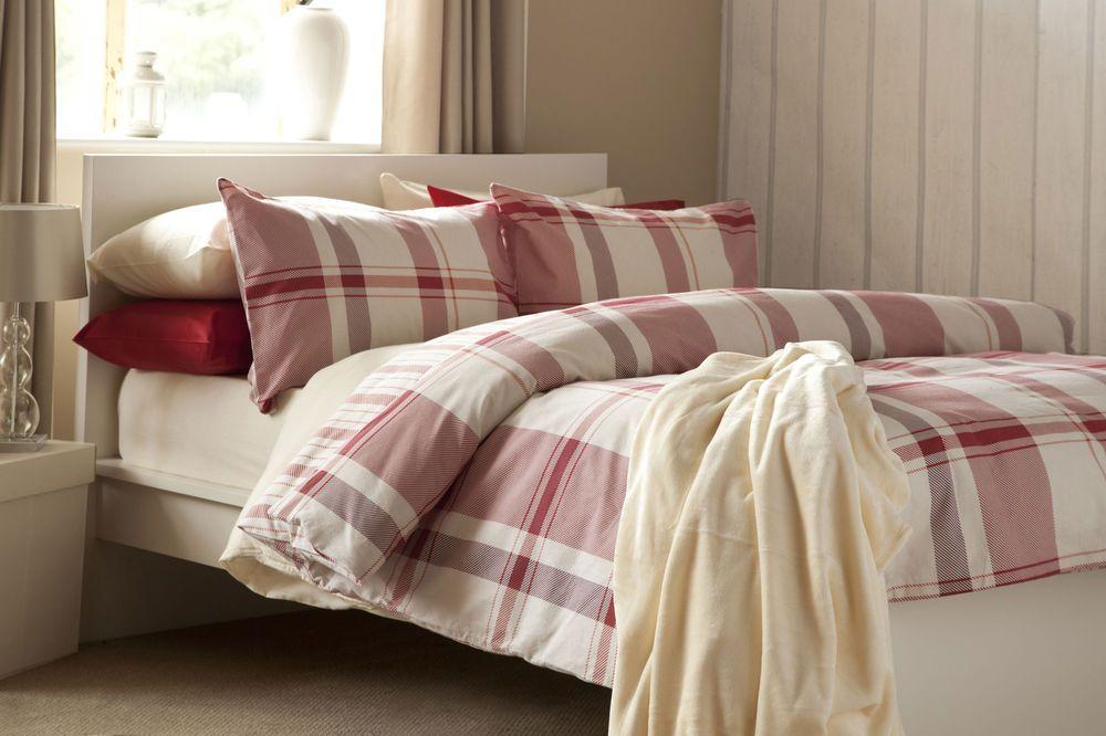 100 Brushed Cotton Check Duvet Cover Set In Red On Cream Background Double Size Duvet Sets Duvet Cover Sets Bed Linen Sets