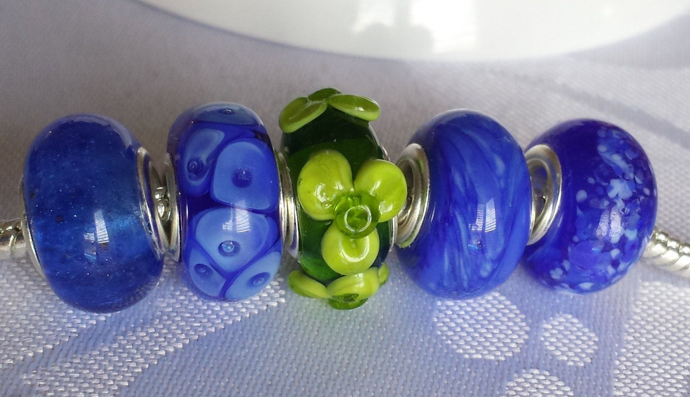 Lampwork glass bead, big hole to fit European style charm jewellery 4.5mm hole...all 5 beads with silver plated core by BdazzledJewellery on Etsy