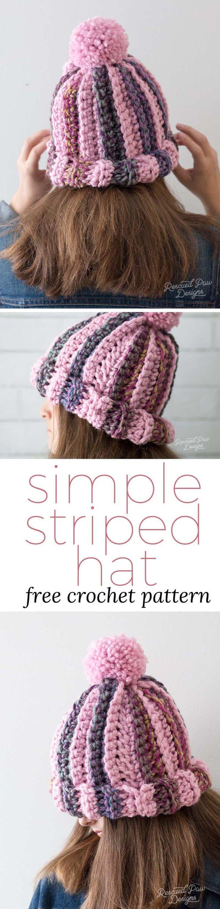 Striped Crochet Hat Pattern   Chunky yarn, Hat crochet and Yarns