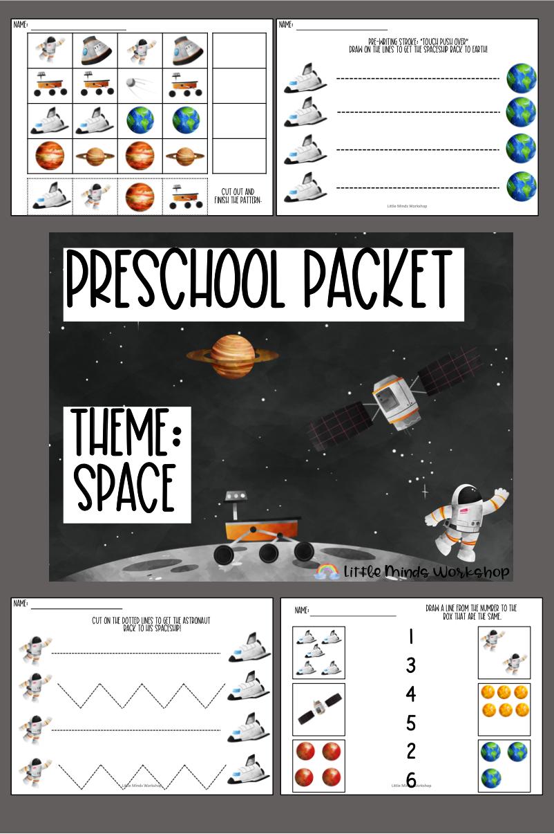 Kindergarten Readiness Packet For Preschoolers Space Theme Space Activities Preschool Letter Activities Preschool Kindergarten Readiness [ 1206 x 802 Pixel ]