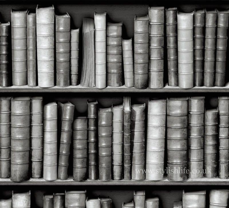 Vintage Black And White Library Bookshelf Wallpaper At Stylishlife Co Uk