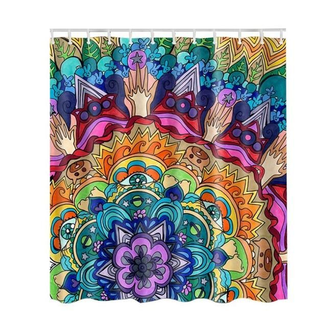 Psychedelic Shower Curtain Trippy Stoner Graphic Mandala Pattern W