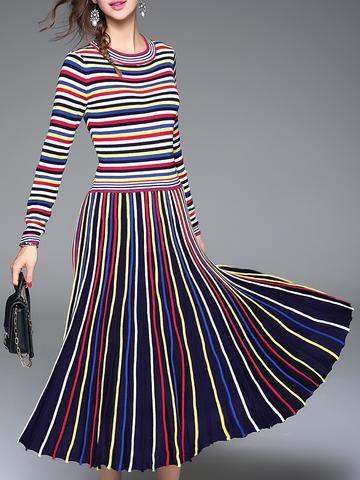 Fashion Stitch Stripe Slim Round Neck Maxi Dress
