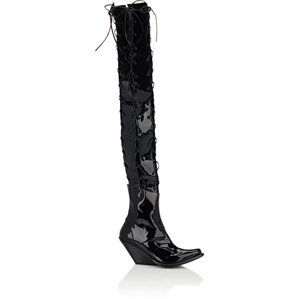 Ben Taverniti Unravel Project Women's Joyce Latex Wedge Cuissard Boots (6.280 BRL) ❤ liked on Polyvore featuring shoes, boots, black, over-the-knee boots, thigh high wedge boots, black lace up boots, wedge heel boots, over-the-knee wedge boots and thigh high lace up boots