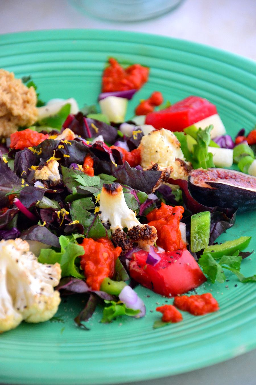 Simple Summer Cauliflower Swiss Chard Salad Gluten Free Dairy Free Vegan Paleo