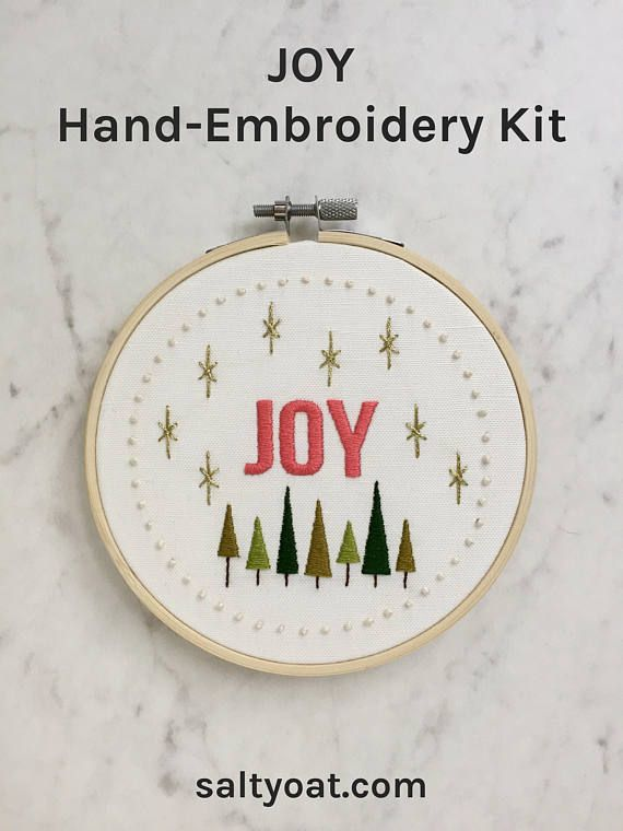 Joy Embroidery Pattern | Modern Hand Embroidery Kit | Beginning ...