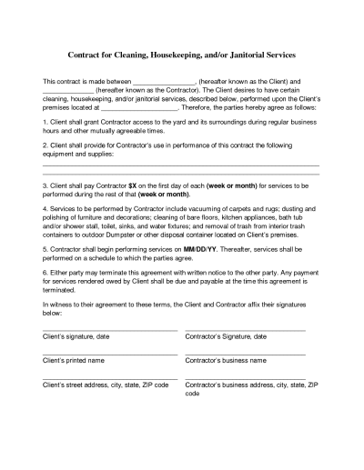 janitorial contract cleaning bid